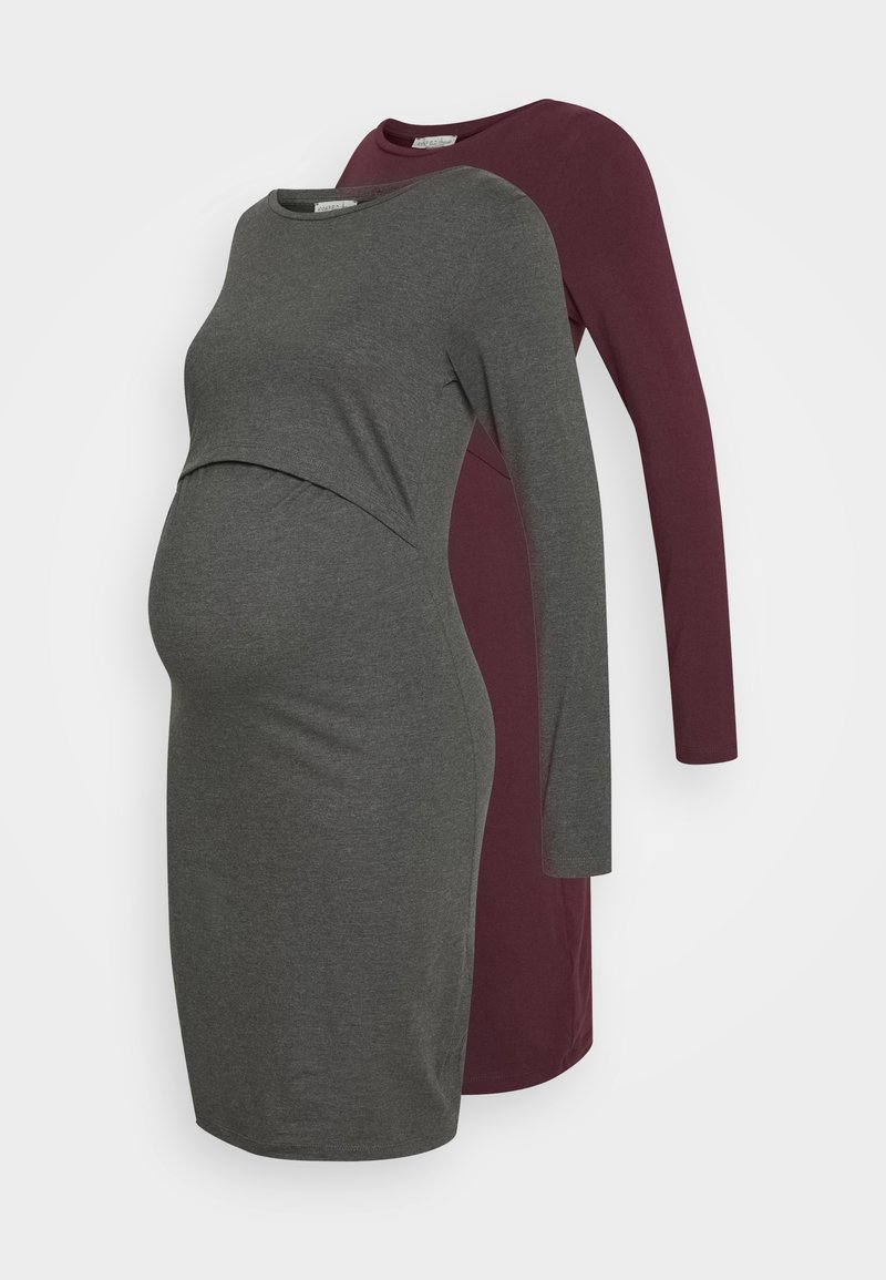 Anna Field MAMA - 2 PACK NURSING DRESS - Žerzejové šaty - grey/bordeaux