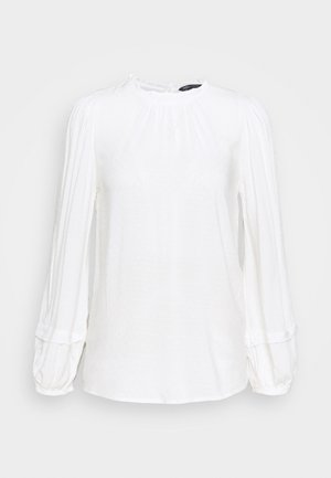DOBBY FRILL NECK - Bluser - off white