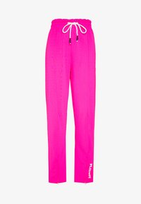 Missguided - PLAYBOY SPLIT STRAIGHT LEG TROUSERS - Pantalones deportivos - pink - 0
