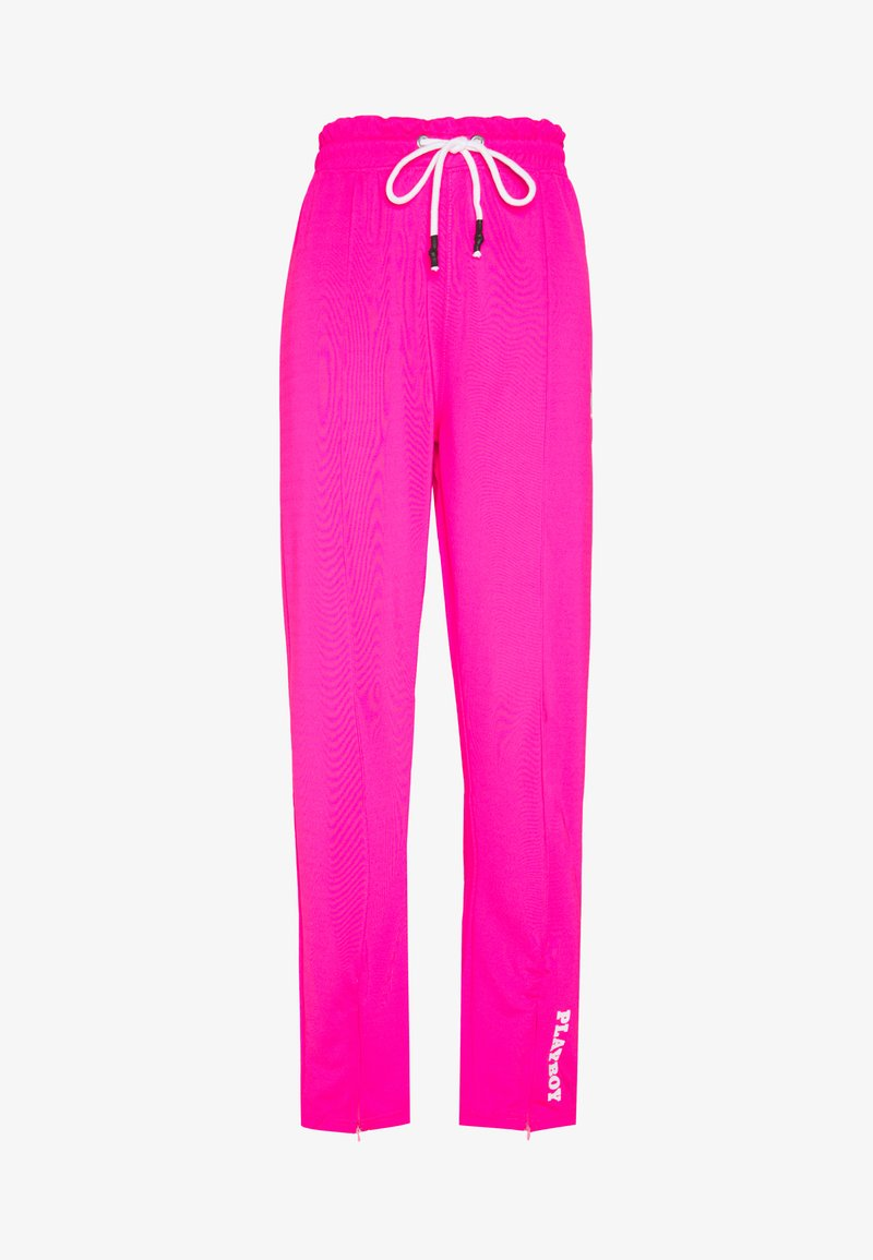 Missguided - PLAYBOY SPLIT STRAIGHT LEG TROUSERS - Pantalones deportivos - pink
