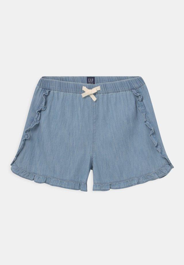 GIRL DOLPHIN RUFFLE - Shorts - light-blue denim