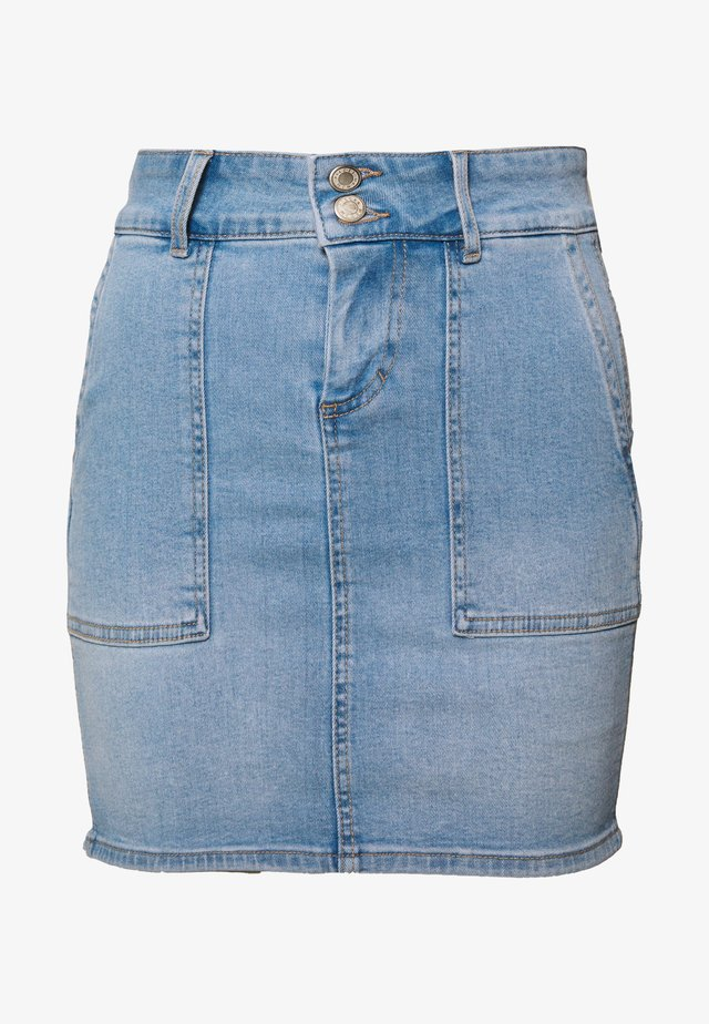 PCAVIA SKIRT BOX CAMP - Denim skirt - light blue denim