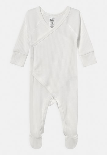 ORGANIC NEWBORN CROSS OVER ROMPER UNISEX - Sleep suit - milk