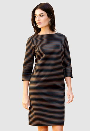 Jersey dress - marineblau cognac