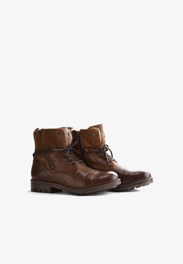 P.POST - Lace-up ankle boots - cognac