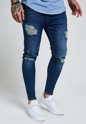 SIKSILK SKINNY DISTRESSED - Vaqueros pitillo - blue