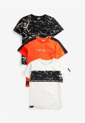 3 PACK - Print T-shirt - orange, white, black