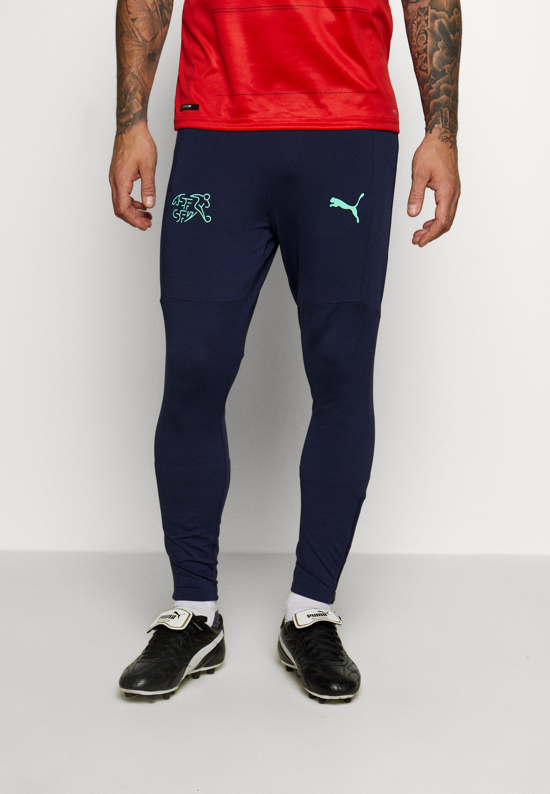 Puma Schweiz Sfv Training Pants Zip Pockets Zip Legs Tracksuit Bottoms Peacoat Green Glimmer Zalando Ie
