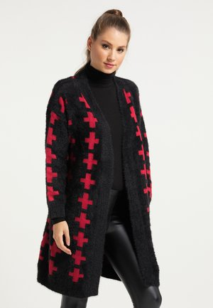 Cardigan - schwarz rot