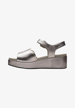 KIMMEI WAY - Sandalias de cuña - pewter metallic