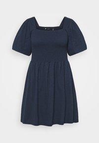 Vero Moda Curve - VMALINA SHORT SMOCK DRESS - Jersey dress - navy blazer - 0