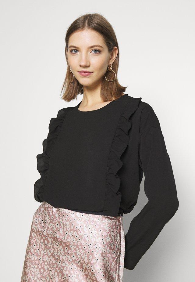 ONLNINNA RUFFLE - T-shirt à manches longues - black