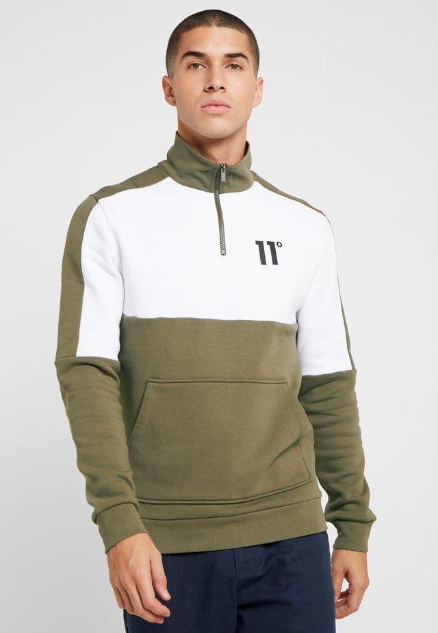 QUARTER ZIP WITH UTILITY POCKETS - Sweatshirt - khaki