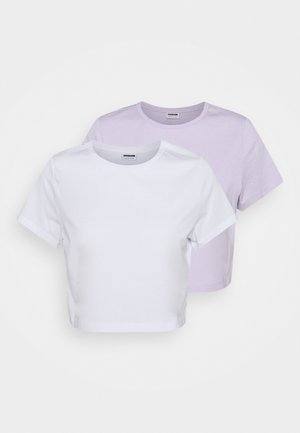NMFRAN CROPPED 2 PACK - T-shirt basic - pastel lilac/white