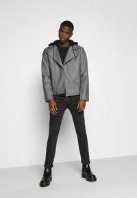 Nominal - HOODED BIKE JACKET - Faux leather jacket - grey - 1