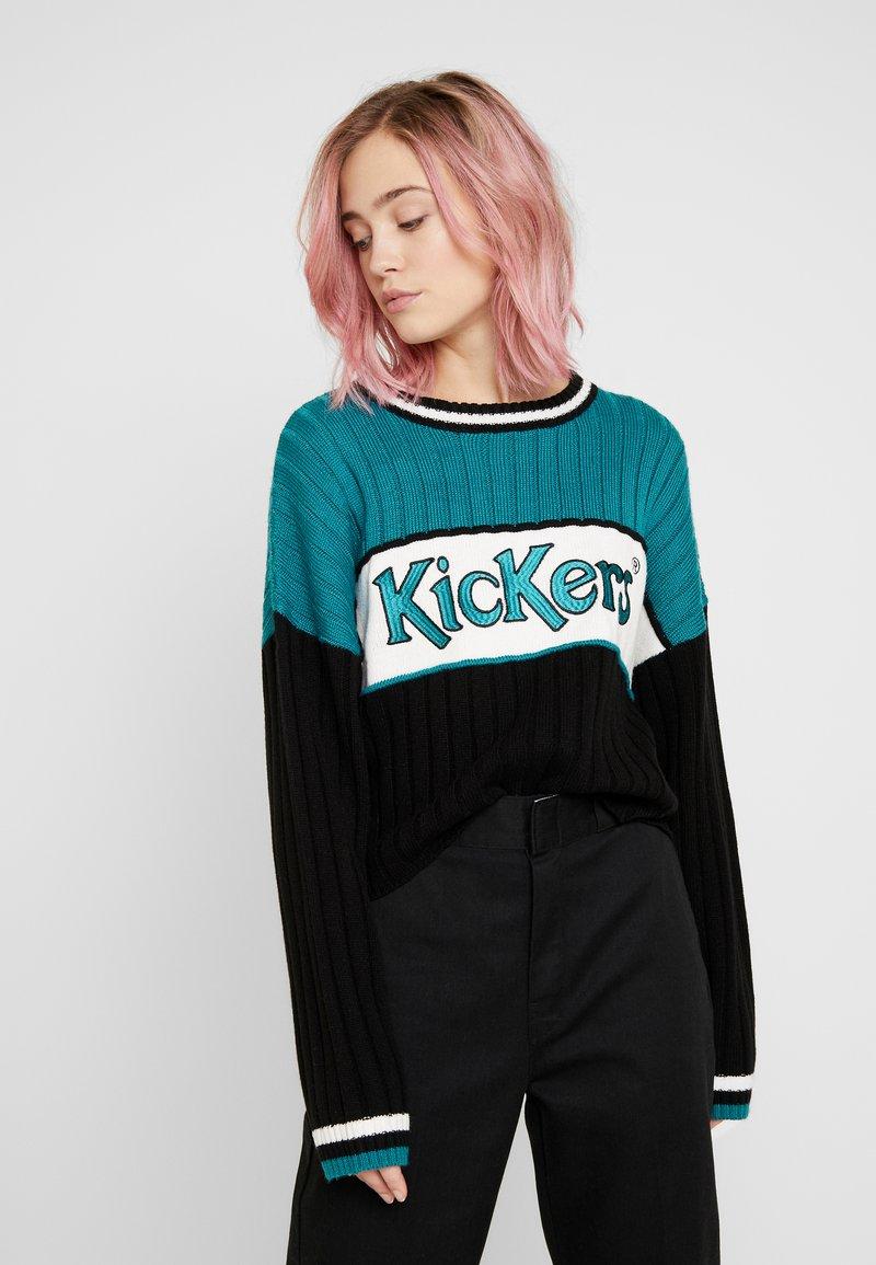 Kickers Classics - PANEL - Stickad tröja - teal/black