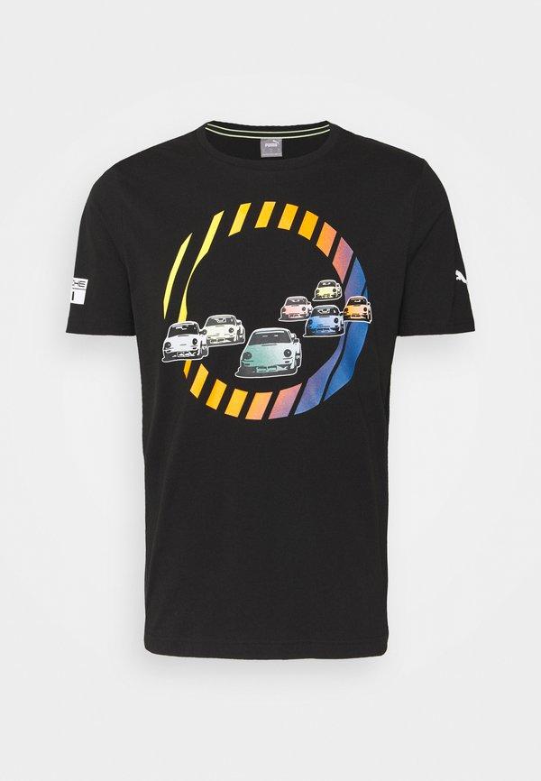 Puma GRAPHIC TEE - T-shirt z nadrukiem - black/czarny Odzież Męska CCUG
