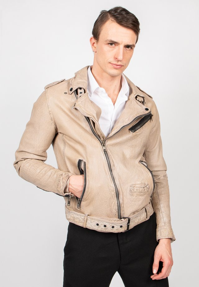 HOUSTON CITY - Leather jacket - sand