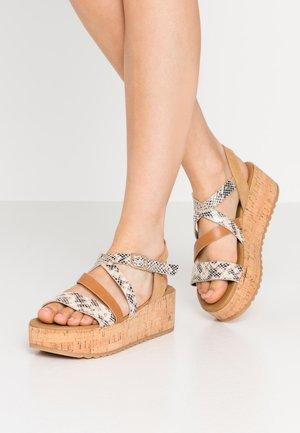 HAYLO - Platform sandals - beige overflow