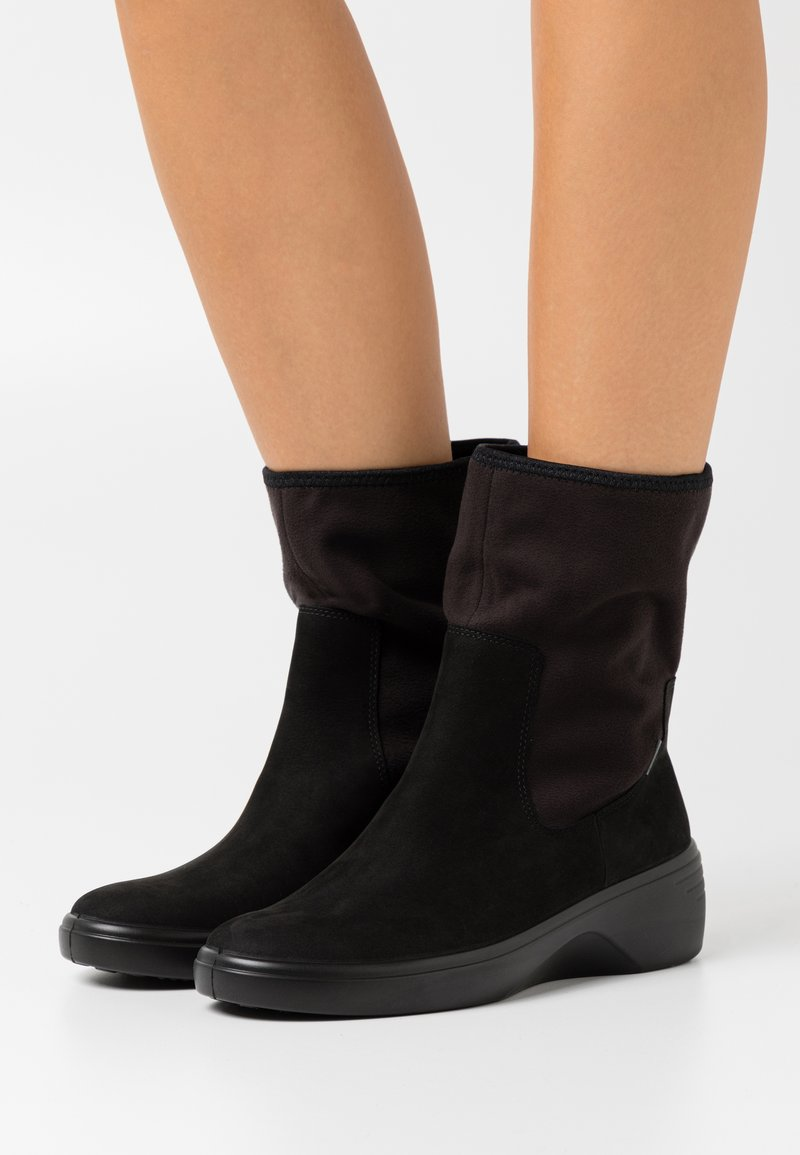 ECCO - SOFT WEDGE  - Wedge Ankle Boots - black