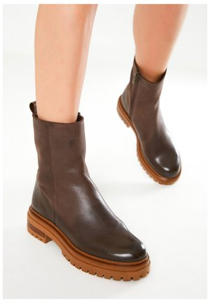 Platform ankle boots - dark brown