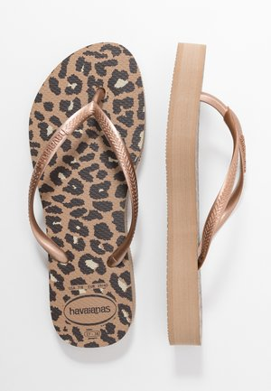 SLIM FIT FLATFORM ANIMALS - Pool shoes - steel grey