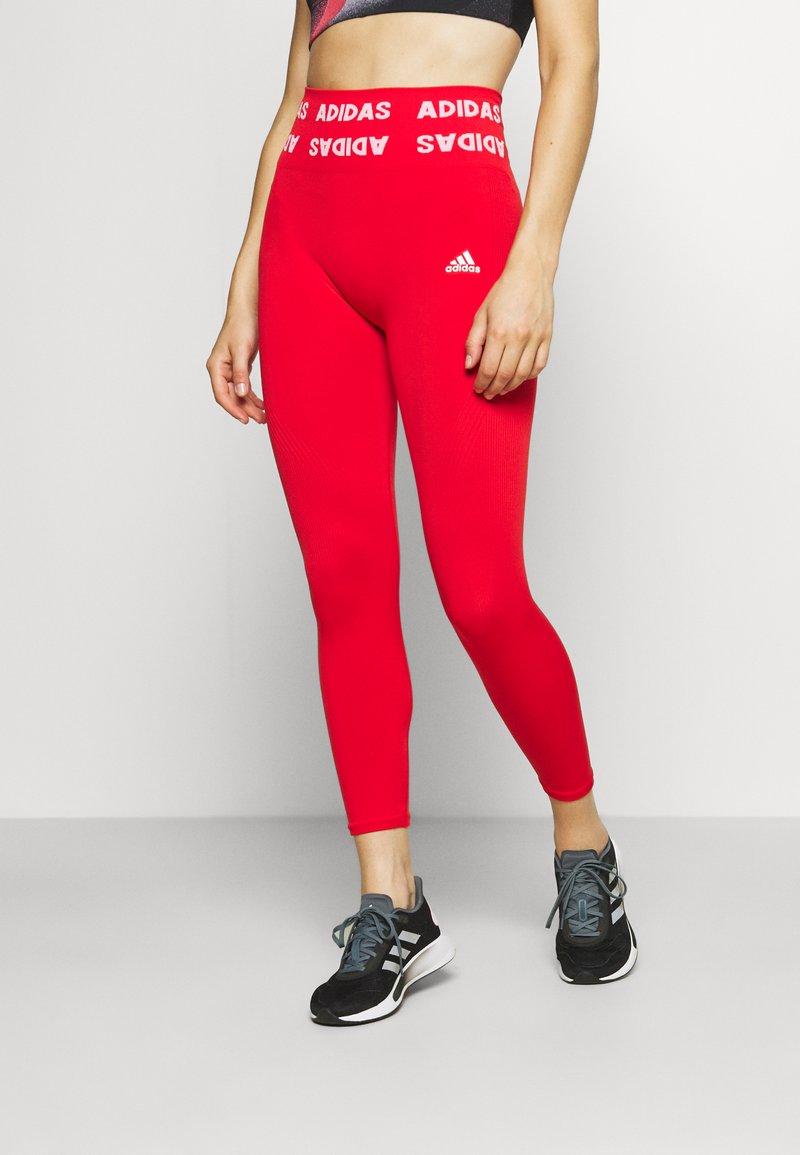 adidas Performance - AEROKNIT 7/8 T TRAINING WORKOUT DESIGNED4TRAINING PRIMEGREEN LEGGINGS FITTED - Leggings - vivid red