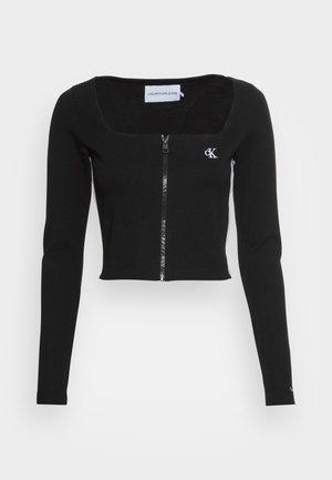 SQUARE NECK ZIP THROUGH - T-shirt à manches longues -  black