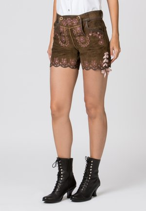HARMONY - Leather trousers - brown