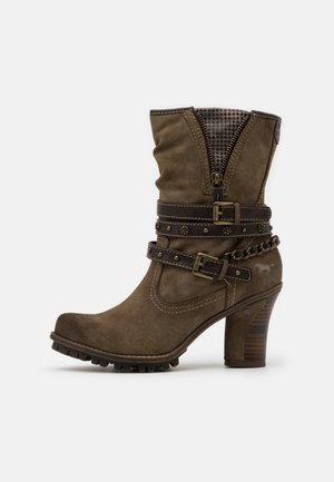 Cowboy/biker ankle boot - kaffee