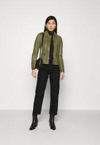 Oakwood - IOTA - Leather jacket - khaki - 1