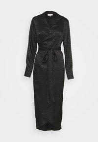 Never Fully Dressed - LEOPARD LONGSLEEVE WRAP DRESS - Cocktailjurk - black - 0