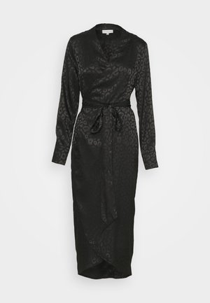 LEOPARD LONGSLEEVE WRAP DRESS - Cocktailjurk - black