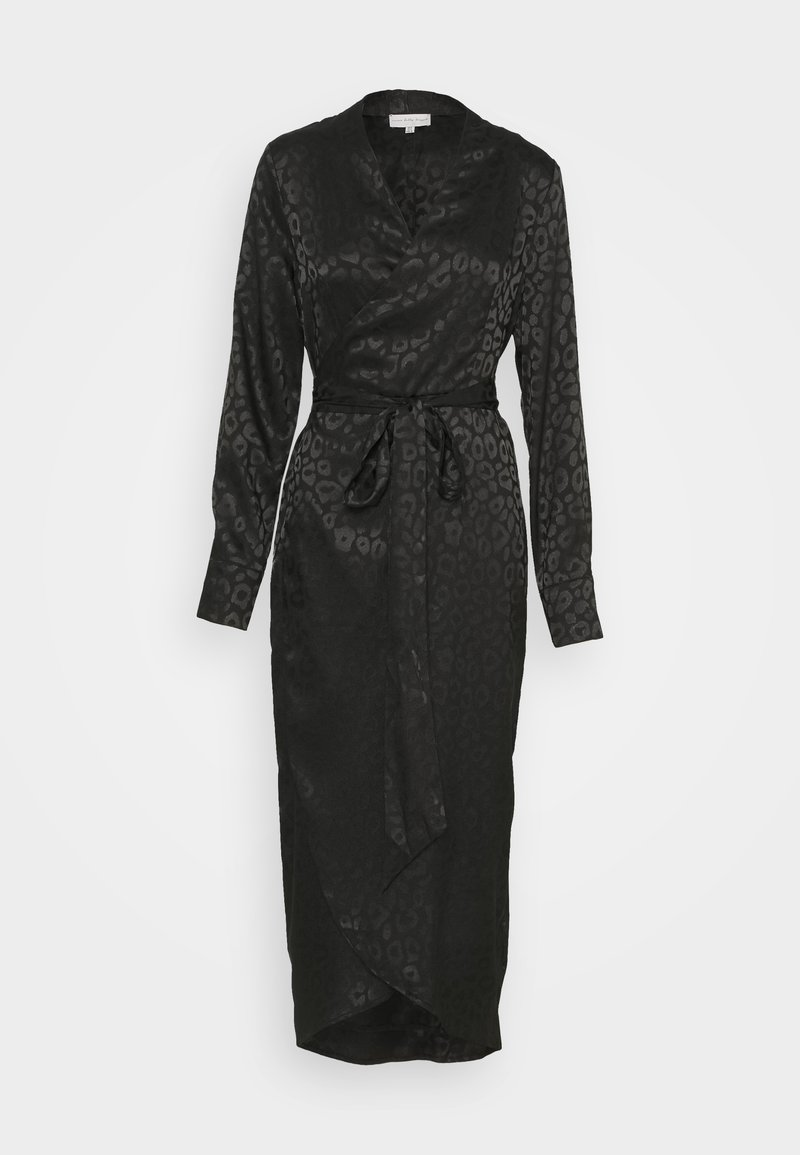 Never Fully Dressed - LEOPARD LONGSLEEVE WRAP DRESS - Cocktailjurk - black