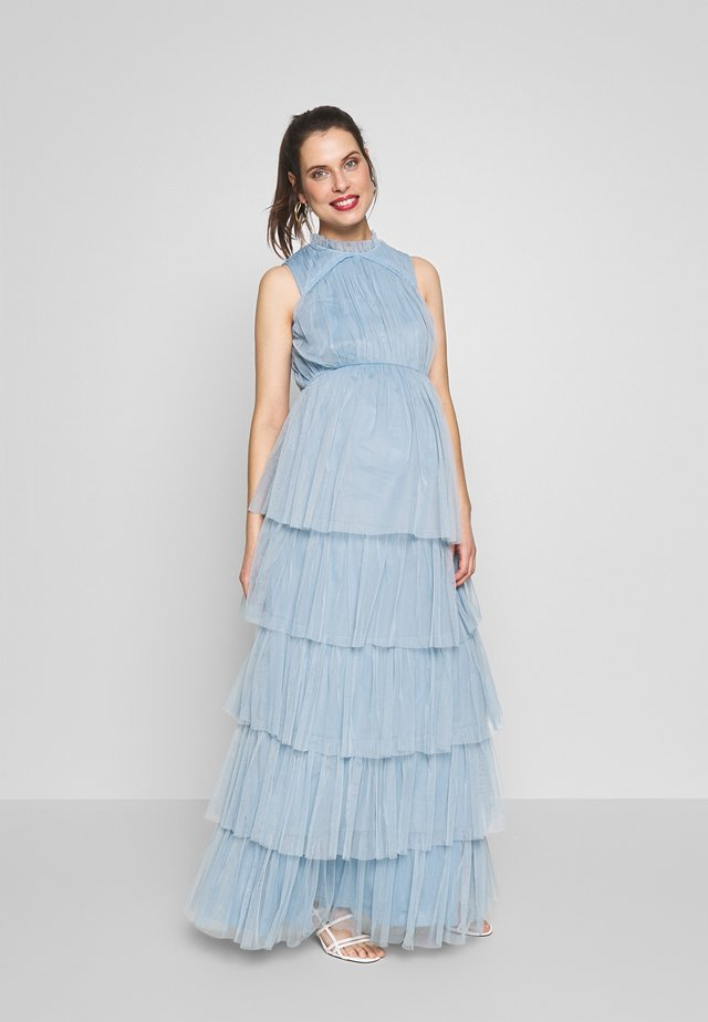 HIGH NECK MAXI DRESS WITH TIERED SKIRT - Day dress - cornflower blue