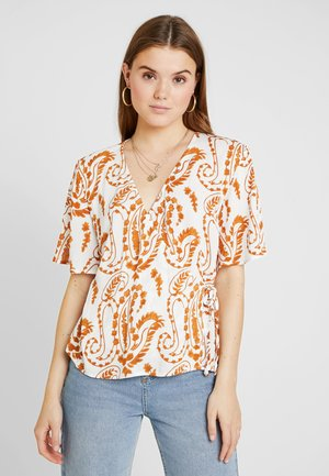 Blouse - gardenia/brown