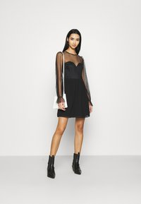Nly by Nelly - RITZY DOT SKATER DRESS - Cocktail dress / Party dress - black - 1