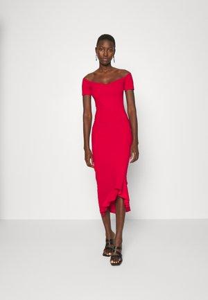 BARDOT RUFFLE HEM MIDI DRESS - Jersey dress - red
