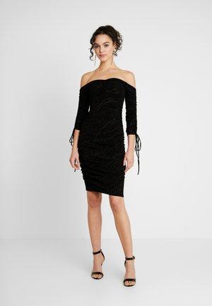 OFF SHOULDER SCRUNCH DRESS - Shift dress - black
