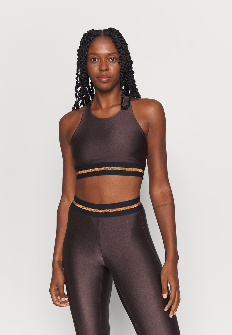 Casall - DEEP SPORTS - Medium support sports bra - powerful brown metallic