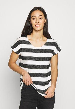 VMWIDE STRIPE TOP  - Print T-shirt - snow white/black