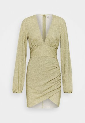 VOLUME SLEEVE PLEATED DRESS - Cocktail dress / Party dress - gold