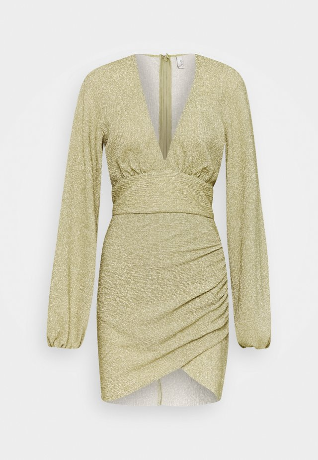 VOLUME SLEEVE PLEATED DRESS - Cocktailkjoler / festkjoler - gold