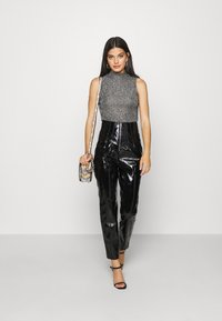Missguided - CRACKED CORSET CIGARETTE TROUSER - Trousers - black - 1
