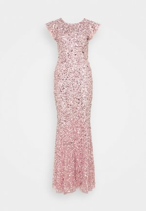 ALL OVER EMBELLISHED FLUTTER SLEEVE MAXI DRESS - Vestido de fiesta - pink