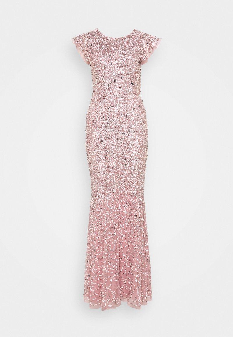 Maya Deluxe - ALL OVER EMBELLISHED FLUTTER SLEEVE MAXI DRESS - Vestido de fiesta - pink
