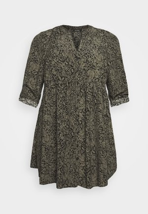 FLORAL BUTTON THROUGH TUNIC - Blouse - khaki