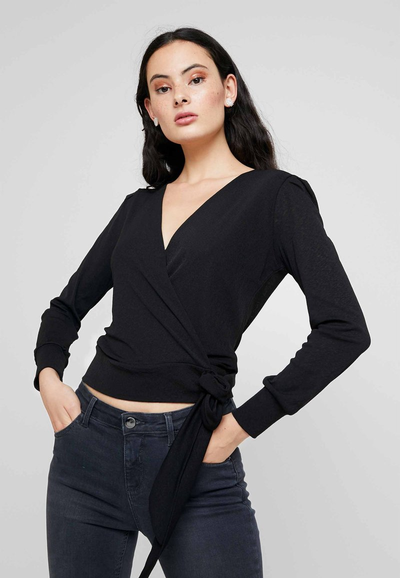Dorothy Perkins - WRAP OVER LONG SLEEVE - T-shirt à manches longues - black