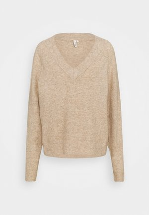 EASY VNECK SWEATER - Sweter - beige