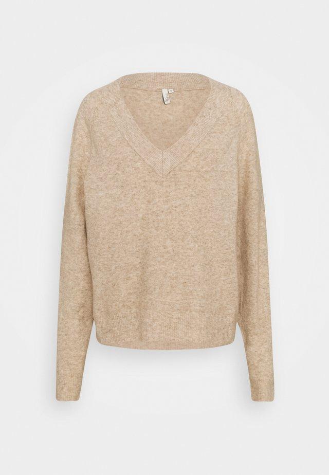EASY VNECK SWEATER - Sweter - beige